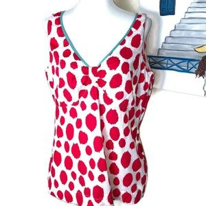 Boden Red White Pattern Lightweight Tank Top Size
